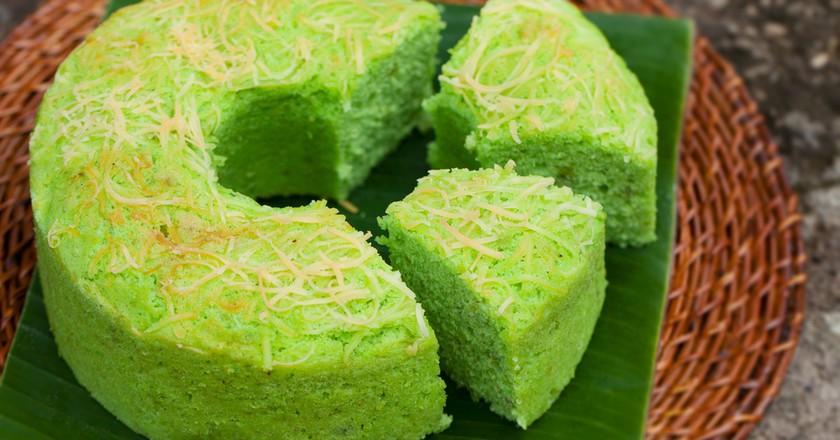 Pandan chiffon cake is a popular Singaporean dessert