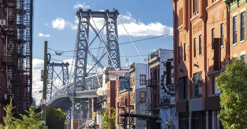 The Williamsburg Bridge connects Williamsburg with the Lower East Side