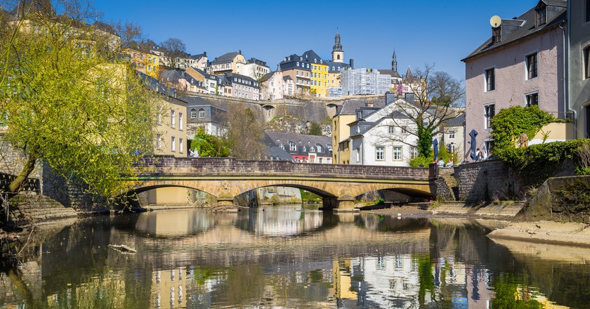 Famous old town of Luxembourg City and the Alzette river.