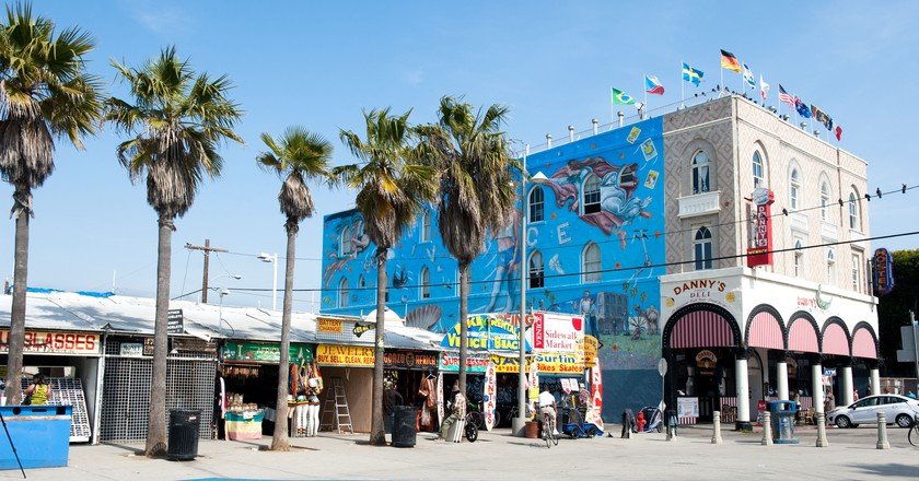 The Venice Boardwalk, Los Angeles, hosts nearly two miles of shops, eateries and street vendors