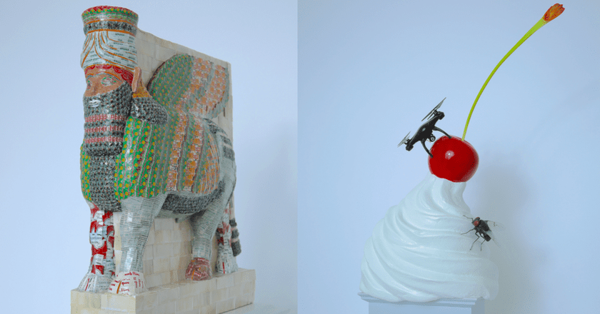 Left to right: Michael Rakowitz, 'The Invisible Enemy Should Not Exist' and Heather Phillips, 'THE END'