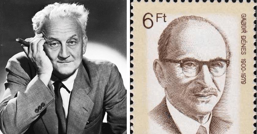 Dénes Gábor 1988 Hungarian stamp | © Hungarian Post Office - Szent-Györgyi Albert | © Fortepan, Semmelweis University Archives / Wikimedia Commons