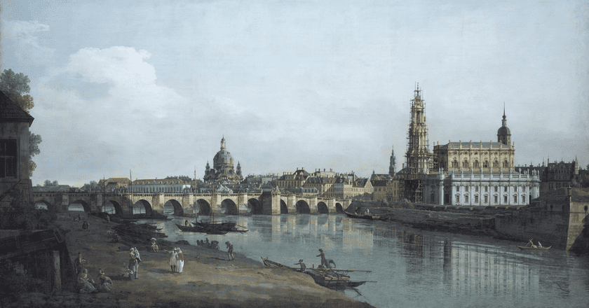 Canaletto's 'Dresden as Seen From the Banks of the River Elbe Below the Augustus Bridge', 1748 Gemäldegalerie Alte Meister, Staatliche Kunstsammlungen Dresden, Foto: Elke Estel