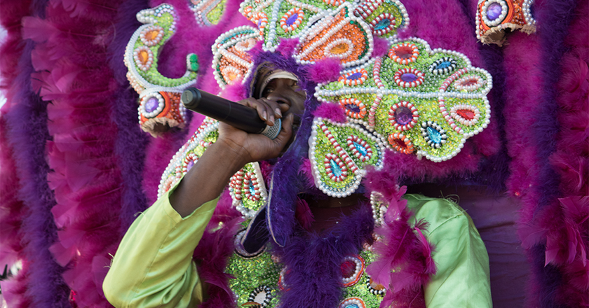 Mardi Gras Indian, 7th Ward second line, New Orleans, 2017 | © Carolyn Heneghan