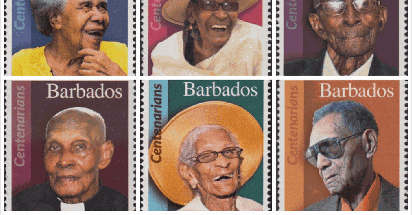 Centenarian stamps | Courtesy of Barbados Stamps