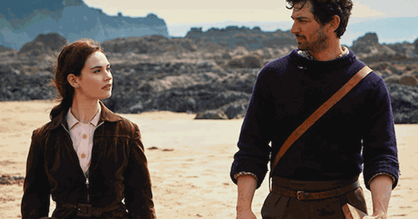 Lily James and Michiel Huisman star in The Guernsey Literary And Potato Peel Pie Society