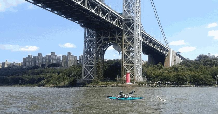 Passing under the George Washington Bridge during the 2017 20 Bridges Swim
