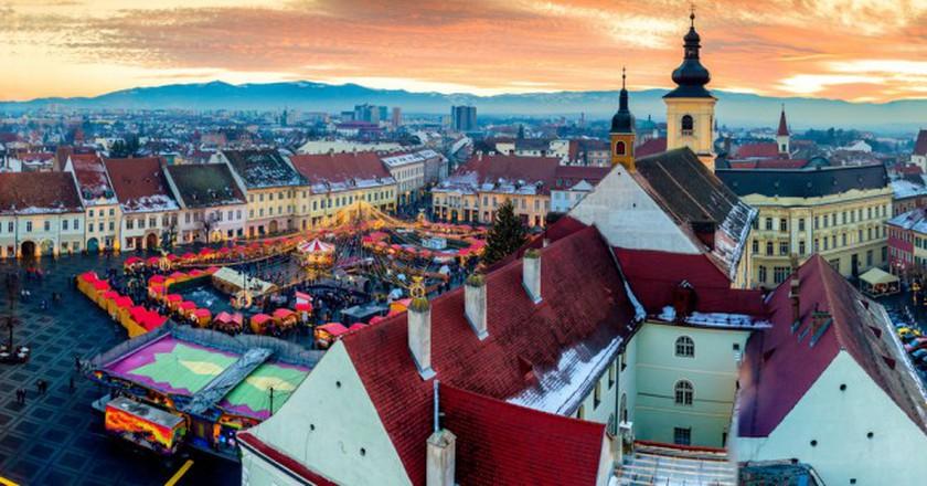 Sibiu central square in Transylvania, Romania © Calin Stan / Shutterstock
