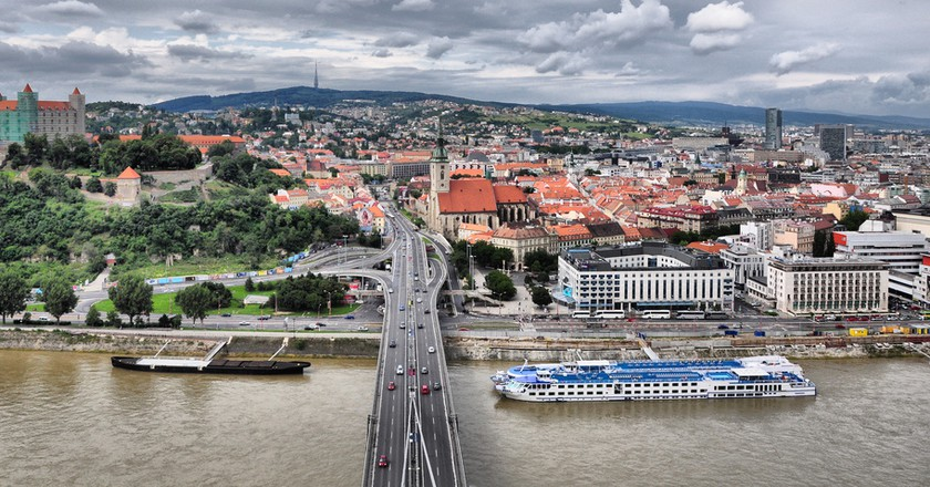A view of the Old Town in Bratislava from the UFO tower on the bridge | © xlibber /Flickr