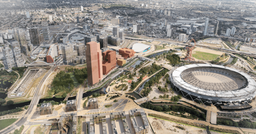 Aerial View of Proposed Plan, Olympicopolis | Courtesy of LLDC