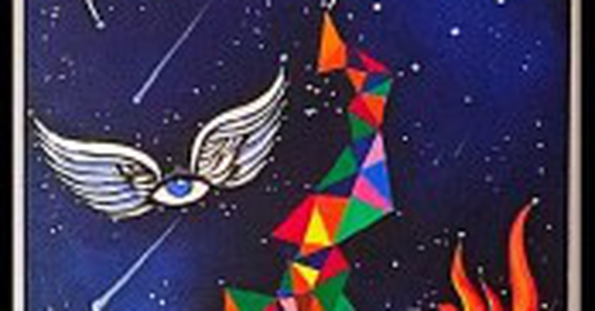 'Searching for my destiny in the stars'. Acrylic on canvas. Astrology series | Courtesy Avantika Mathur