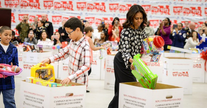 First lady Michelle Obama supports annual Toys for Tots drive. | © Official U.S. Navy Page/Flickr