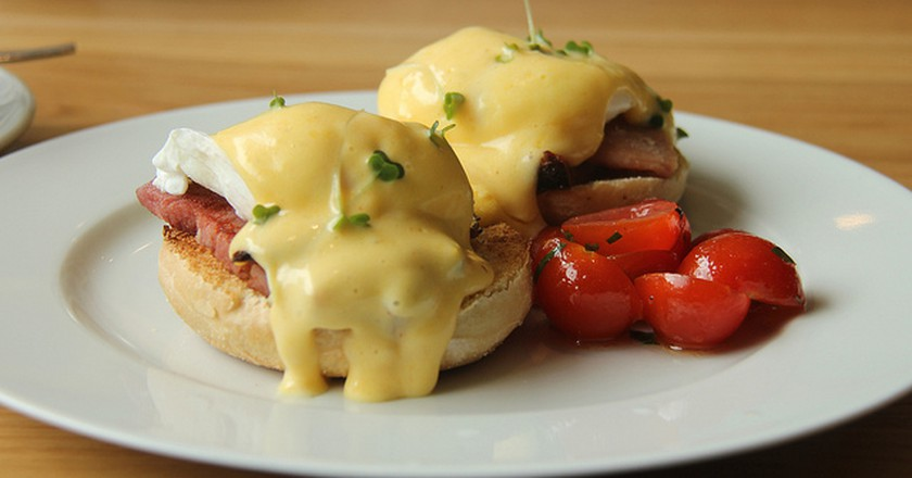 The eggs benedict at Loudons Cafe and Bakery.  Very, very tasty.