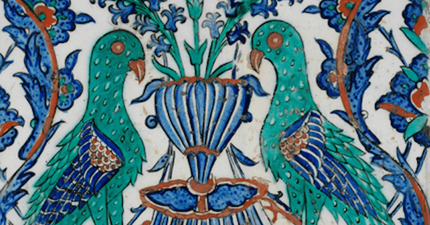 Iznik tile with two peacocks-Ottoman period-17th century