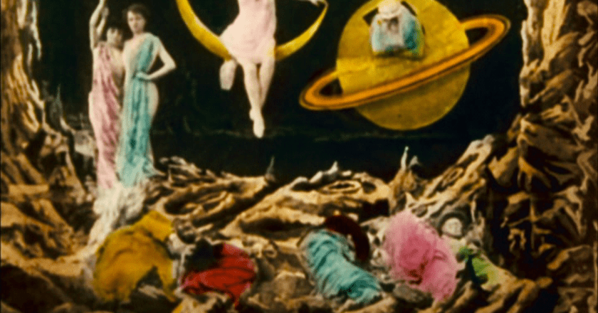 Screenshot from only surviving hand printed version of George Méliès's 1902 film Le Voyage dans la lune, Star films production