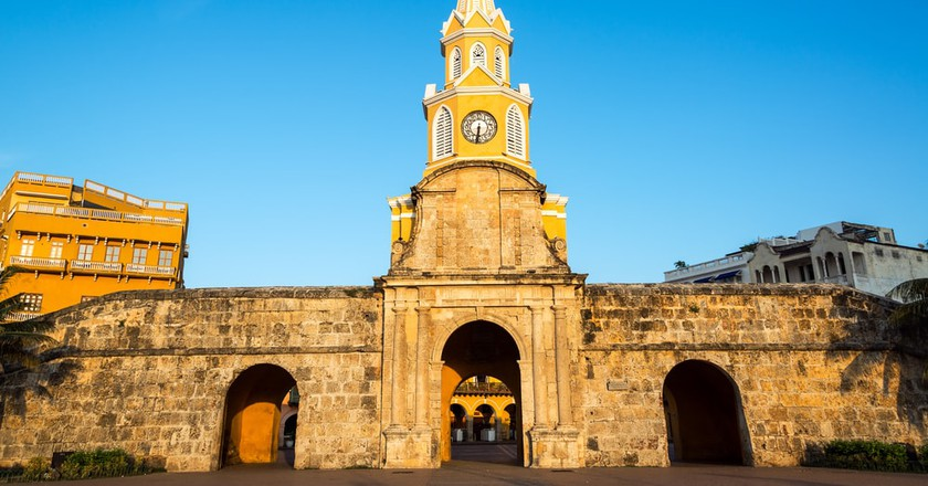 The historic clock tower gate is the main entrance into the old city of Cartagena, Colombia