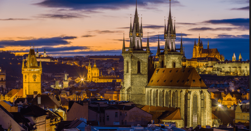 Prague from Powder Tower, with Our Lady before Týn, St. Nicolas, and St. Vitus Cathedral| © Jiuguang Wang/Flickr