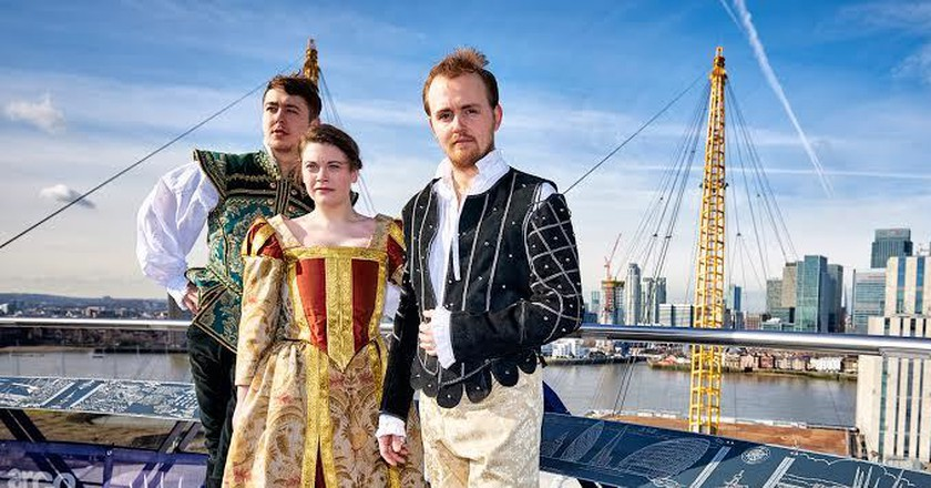 Cast of Grassroots Shakespeare London on top of the O2 | Courtesy of Up at The O2