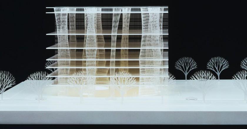 Toyo Ito & Associates, Architects. Sendai Mediatheque, Miyagi, Japan. 1995–2001. Model: acrylic, 10 5/8 x 31 1/2 x 29 1/8″ (27 x 80 x 74 cm). The Museum of Modern Art, New York. Gift of the architect in honor of Philip Johnson | © 2015 Toyo Ito