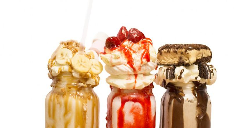 Banana Fudge, Strawberry Cheesecake, Oreo Shake   Courtesy of Maxwell's Bar & Grill