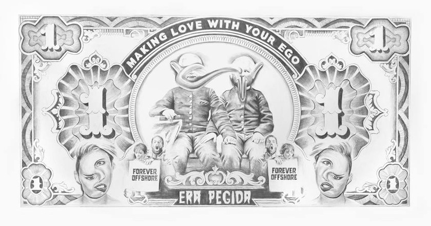 Filip Markiewicz, Making love with your ego, 2016, pencil drawing on paper, 150 x 285 cm | Courtesy of Aeroplastics Contemporary Art Gallery
