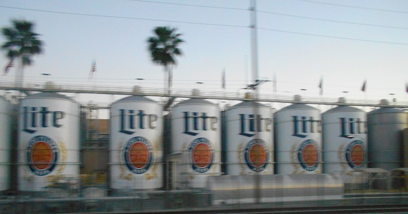Miller Lites roll by along the tracks near Irwindale Station/Courtesy of Ryland Lu