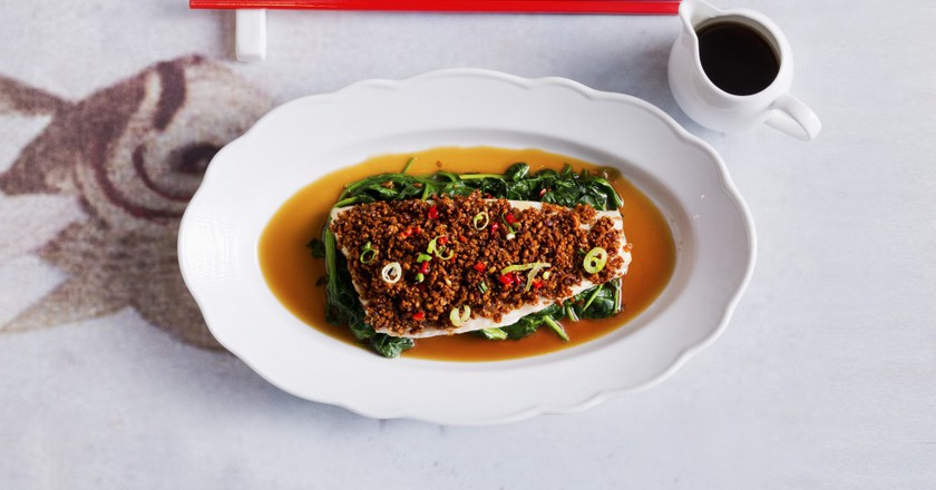 Spicy Bean Crumb Steamed Seabass   Courtesy of Luckee