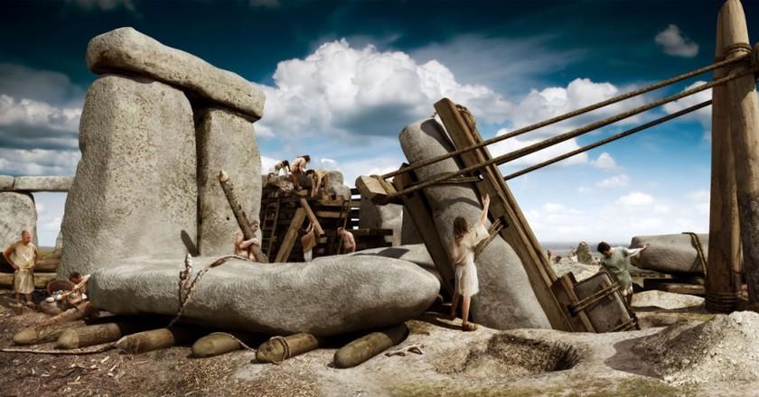 Stonehenge construction | © English Heritage