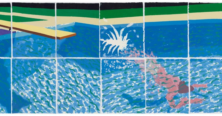 """Le Plongeur Paper Pool 18 (1978)"" by David Hockney 