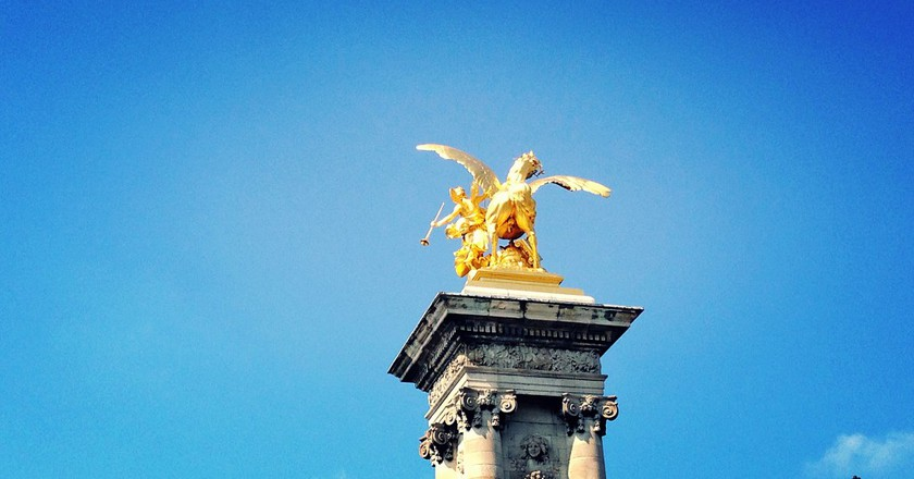One of the four pillars on Pont Alexandre III | Courtesy of Benjamin Harrill