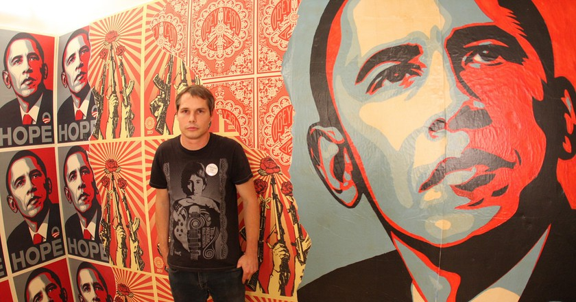 Shepard Fairey with his Obama Icon © Hrag Vartanian/Flickr