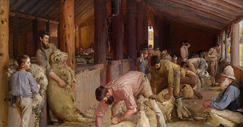 Tom Roberts - Shearing the rams   © lQEDjT-_MXaMJQ at Google Cultural Institute/WikiCommons