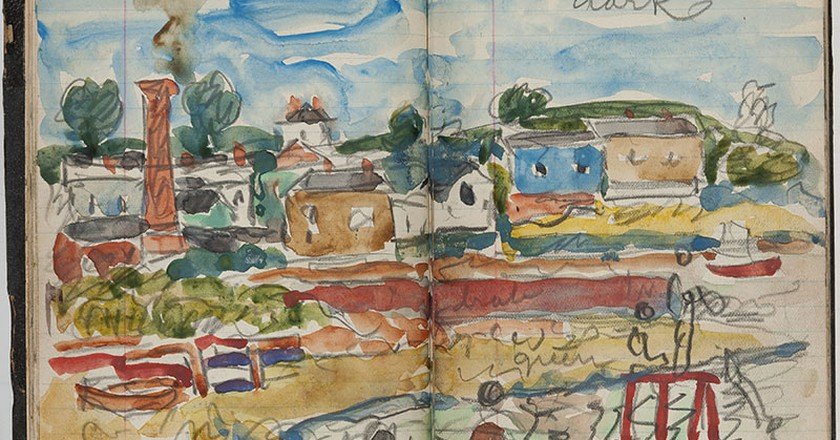 Maurice Brazil Prendergast, Sketchbook, 1922. Watercolor, graphite, and crayon on lined paper bound as a 'Record' book, 6 3/4 x 4 ¼ inches. New-York Historical Society, Gift of Miriam Schapiro Grosof, in memory of a friendship, 2013.11