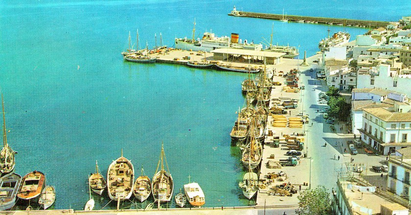 A strikingly azure Ibiza Town Port in the 1960's