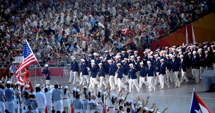 Team USA during the Opening Ceremony of the 2008 Olympics | commons.wikimedia.org