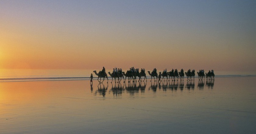 Sunset camel trek on Cable Beach, Broome | Courtesy of Tourism Western Australia