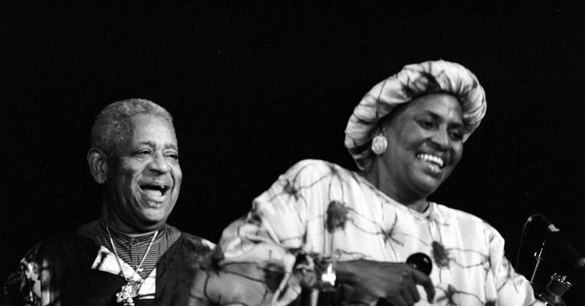 Miriam Makeba (South African singer and anti-apartheid activist) in concert with Dizzy Gillespie, France 1991 © Roland Godefroy/WikiCommons