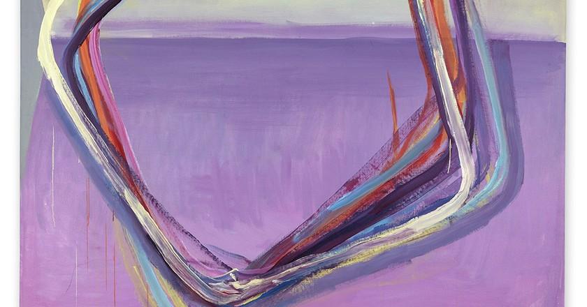 Maria Lassnig, Grosse Flächenteilung / Spiegel (Large field-division / mirror), 1989, Oil on canvas 200 x 205 cm / 78 3/4 x 80 3/4 inches | © Maria Lassnig Foundation, Courtesy Hauser & Wirth