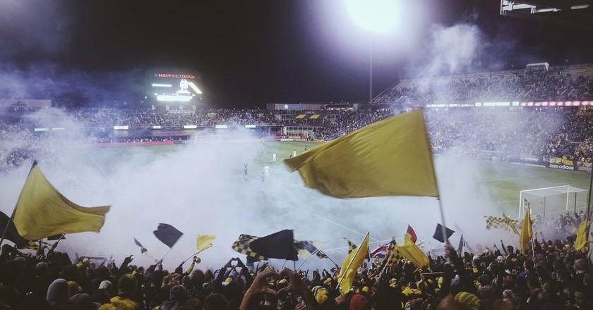 Columbus Crew fans cheering at MAPFRE Stadium
