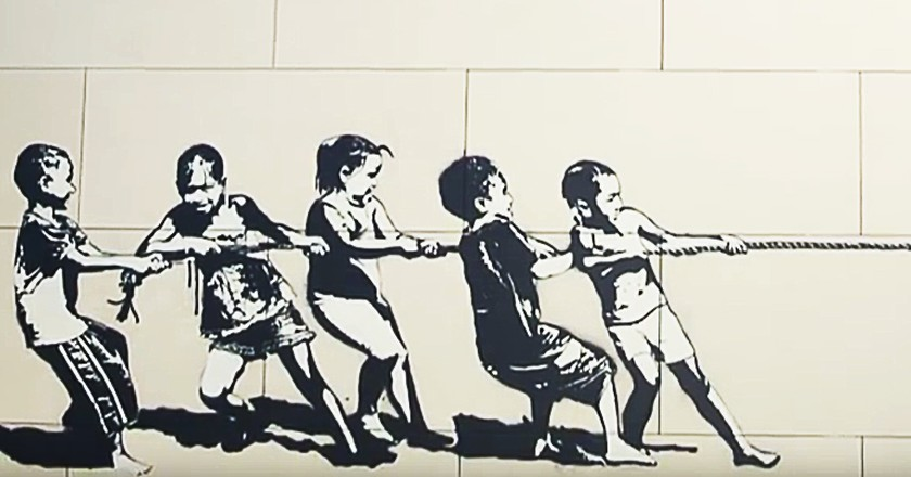 Artwork by Blek Le Rat at City Walk, Dubai, UAE