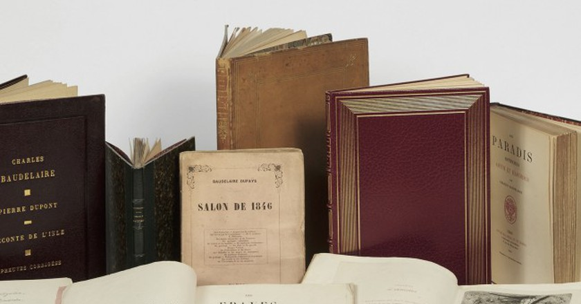 Pierre Bergé's Charles Baudelaire collection, featuring manuscripts and original editions of his greatest works. | Courtesy of Sotheby's
