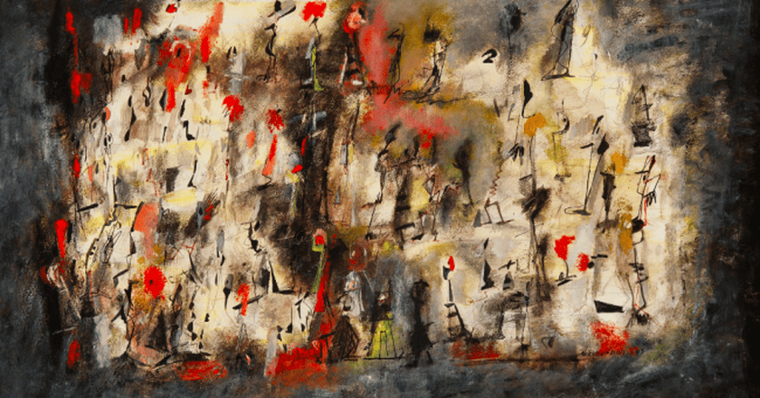 Title Unknown (Street Scene aka African Dance), 1947 Oil on board, 20 x 30 in.  | © Estate of Norman W. Lewis; Courtesy of Michael Rosenfeld Gallery LLC, New York, NY