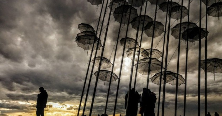 "George Zongolopoulos' ""Umbrellas"" on the waterfront 