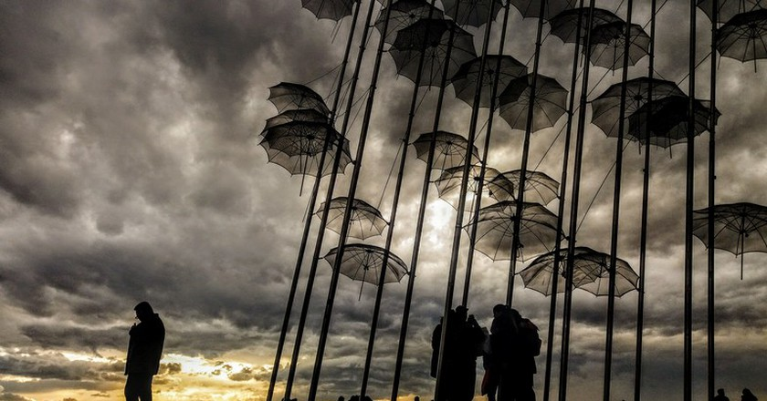 """George Zongolopoulos' """"Umbrellas"""" on the waterfront 