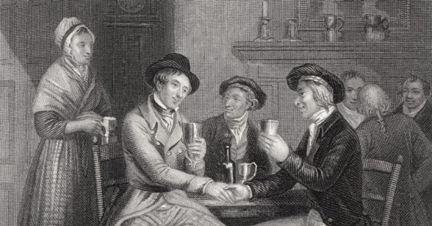Illustration Of 'Auld Lang Syne' By J.M. Wright And Edward Scriven | © WikiCommons