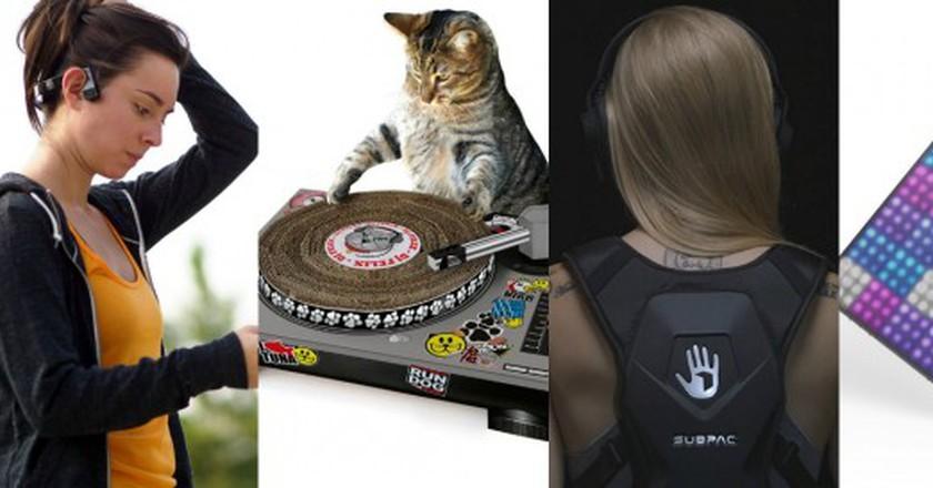 Aftershokz headphones, Cat scratching deck, SubPac M2, and Roli Lightpad | © Amazon/Roli