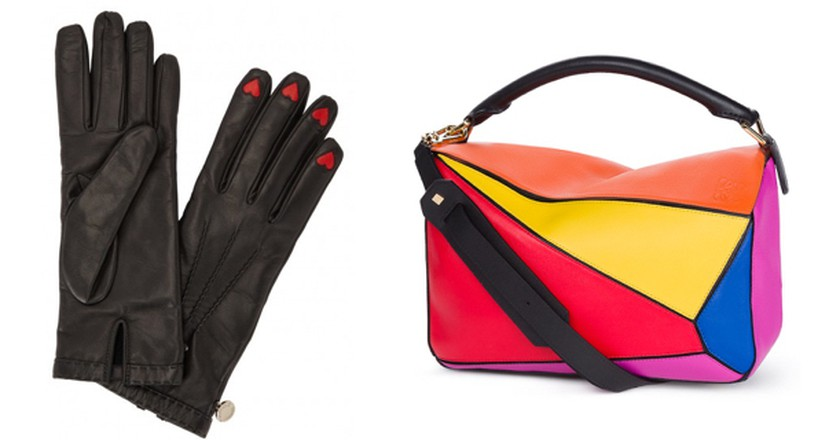 From L - R: Moschino Gloves, Small Multicolour classic calf puzzle bag, Shelly Shoes