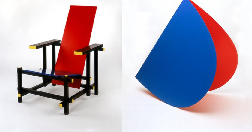 Gerrit Rietveld, Red and Blue Chair, 1919/1950, coll. Stedelijk Museum Amsterdam    Elsworth Kelly, Blue and Red Rocker, 1963, coll. Stedelijk Museum Amsterdam