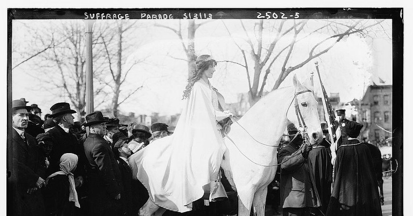 Suffrage parade, Inez Milholland   Courtesy of Library of Congress