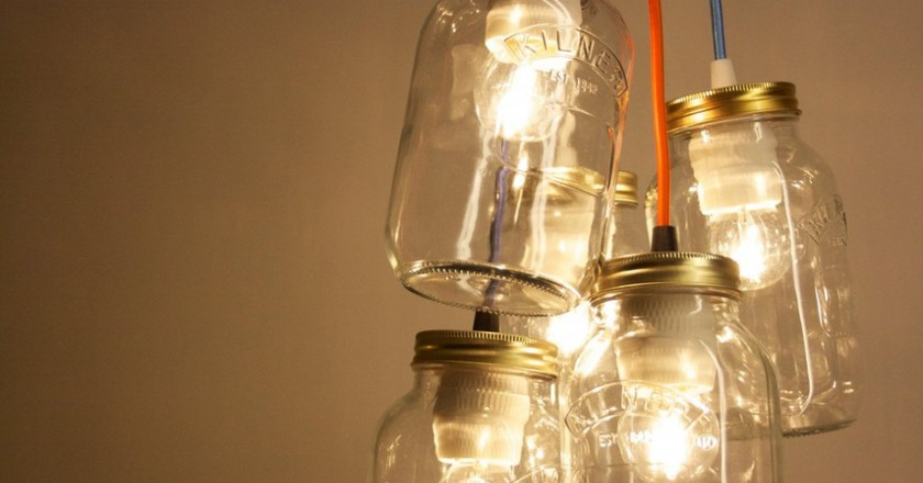 Dangling Kilner lights | © Jam Jar Lights